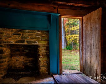 Lovely View E253. Cades Cove, Smoky Mountains, Settler, Pioneer, Cabin, House, Autumn, Leaves, Looking Out, Tennessee, Tourist Site