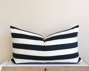 Black & Cream Stripe Lumbar 14x24