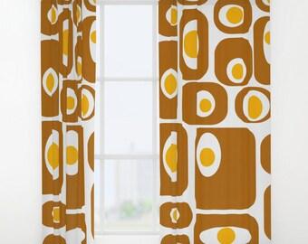 Retro Curtain Panels, Modern Window Curtains, Modern Drapery Panels, Retro  Window Curtains,