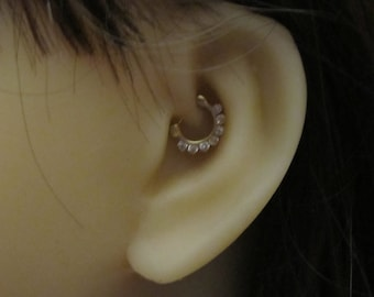 14kt Solid Gold Daith Piercing,Septum Ring with cz's 16g