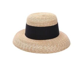 Ms Hepburn wind folding in Europe and the wide brim hat hemp material elegant wind together Straw Hat -sun hat