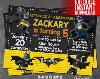 Batman Lego Invitation / Batman Lego Party / Batman Lego Birthday / Batman Printable Invitation / Batman Instant Download / Batman Invites