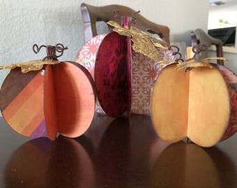 Set of three pumpkin table decorations, Fall Decorations, 3D Pumpkins,, handmade with fall decorative papers, fall table center piece