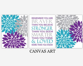 CANVAS Baby Girl Nursery Art Purple Teal Gray Flower Dahlia Mums Remember You Are Braver Canvas Girl Bedroom Baby Nursery Decor CHOOSE COLOR
