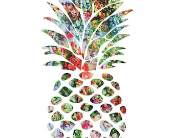 Framed Pineapple Print 11x17 Black Slim