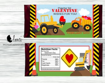 Construction Valentine Candy Bar Wrappers, Party Favors - Digital File