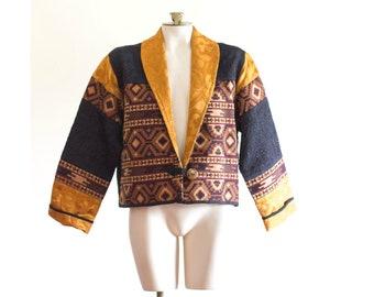 1990s southwest style brocade cropped jacket