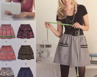 Simplicity 2286/Uncut Sewing Pattern/Misses Pull-on Skirt with Trim Variations/Learn to Sew/Size 6 - 18/2010