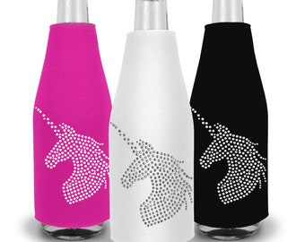 Rhinestone Unicorn Bottle Cooler - Bachelorette Party, Bachelorette Party Favors, Unicorn Bride, Bachelorette Ideas, Unicorn Squad