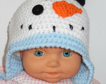 baby snow snowman crochet Hat