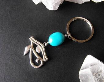 Eye of Horus Egyptian Charm and Turquoise Keyring