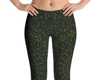 Avocado Yoga Pants, Black Leggings with Green Mandala Designs for Women, Printed Leggings, Pattern Yoga Tights