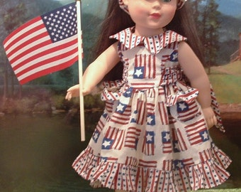 Stars and Stripes Sundress with Matching Headband for your 18 Inch Doll
