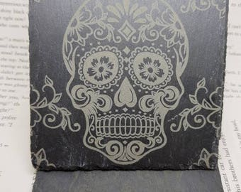 Sugar skull Slate Coasters / Skull / Stone / Laser Engraved / Laser Engraving / Coasters / Sugar skull / Day of the dead / Tattoo / Ink