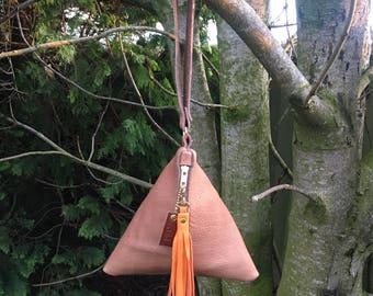 Leather Triangle Clutch Bag