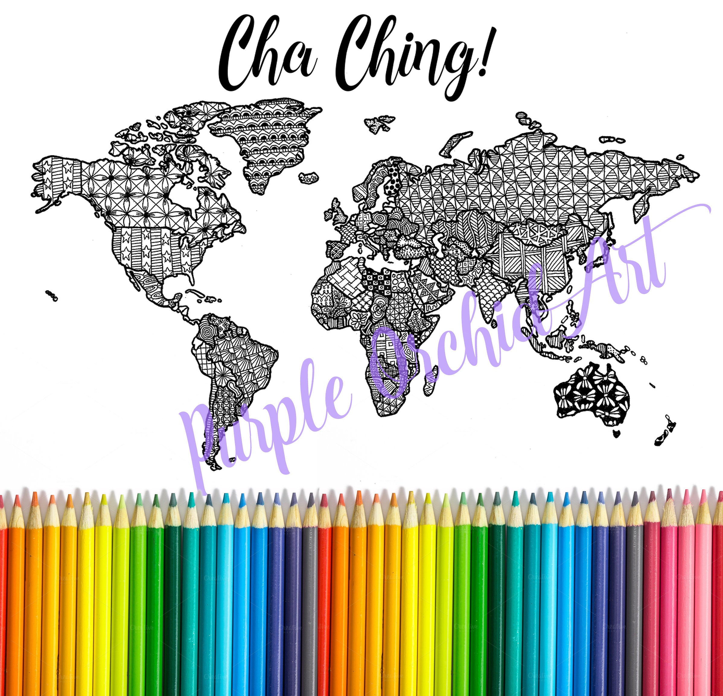 Edit to size printable world map printable art adult for Selling coloring pages on etsy