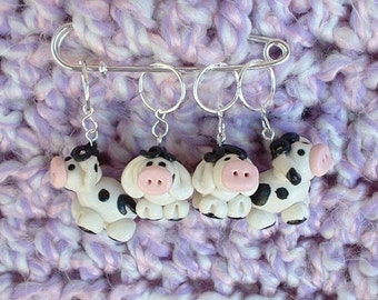 Cow knitting or crochet stitch markers - Polymer Clay - Set of 4