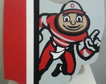 Ohio State Buckeyes Brutus Painting on Ohio wood cutout