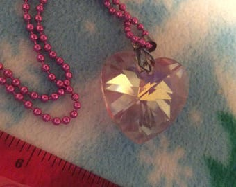 Crystal heart necklace opalescent pink dog tag chain/Valentine's Day sale!