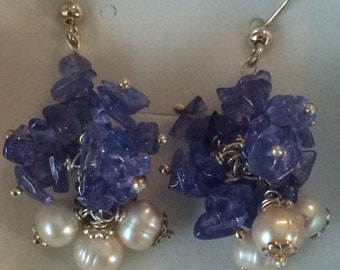 Tanzanite earrings and Baroque freshwater pearls 925 sterling silver