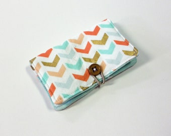 Grey damask fabric business card holder with green blue and coral soft broken chevron fabric business card holder with green mini triangle credit card reheart Image collections