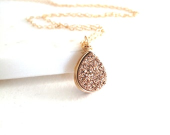 Rose gold teardrop necklace, mother's day gift, rose gold druzy, dainty jewelry Gift for her Under 55 Vitrine Designs