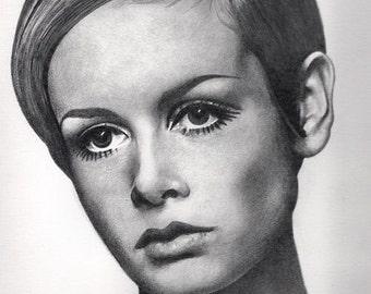 Twiggy Original Drawing