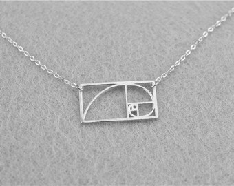 Geometric Fibonacci Spiral Silver Necklace