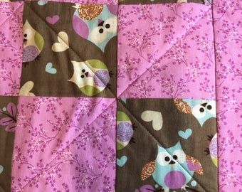 Baby Shower Gift Owls Baby Girl Quilt