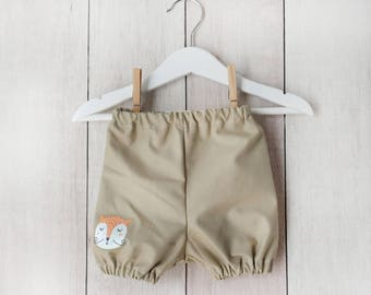 Bloomer shorts for 3-6 moths, brown with fox, 100% cotton // christmas baby gift // baby shorts