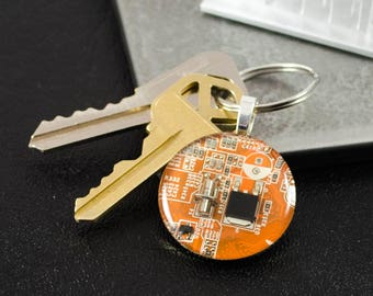 Circuit Board Keychain Orange, Geeky Gift, Recycled Computer Key Fob, Information Technology Gift, Software Engineer, Industrial Chic, Nerdy
