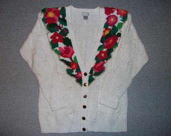 Bright Flowers V Neck Sweater w/Pearl Beads Ugly Christmas Party Tacky Gaudy X-Mas L Large