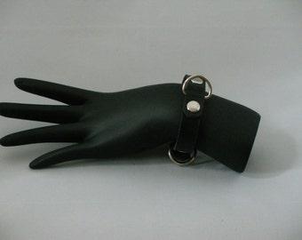 Black leather kitty bracelet,  Cute leather braclet