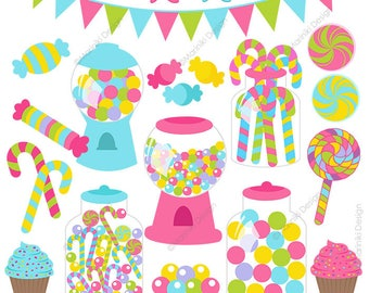 Candy Shop Clipart , Sweet Candies Clip Art, Candyland Birthday Graphics for Invitations Printables Scrapbook INSTANT DOWNLOAD CLIPARTS C115