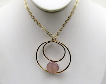 10K Gold Rose Quartz Modernist Pendant Necklace. Rolo Chain. Eternal Circle Modern Designer Statement Jewelry. Contemporary Necklace