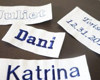Machine embroidered label, personalized label, purse label, purse add-on