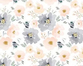 PEACH Crib Bedding -Girls Fitted Crib Sheets /Floral Changing Pad Covers /Crib Sheet /Peach Navy Bedding /Mini Crib Sheet Nursery Linens