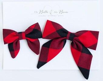 Hair Bow, Sailor Bow, Bow Headband, Headband, Fabric Hair Bow, Hair Clip, Baby Bow, Nylon Headband, Alligator Clip - Red/Black Buffalo Plaid