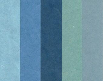 "korean paper for origami ""Hanji"" blue"