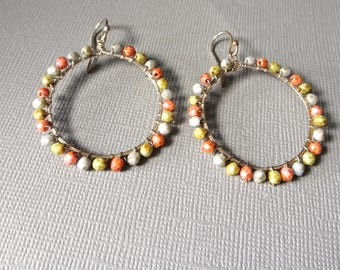 Colorful Beaded Hoops, Large Sterling Silver Earrings, Wire Wrapped Jewelry, Shill yshallyjewelry, Artisan Made Jewelry, be17