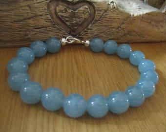 Blue Agate Gemstone Bead Bracelet