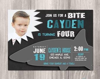 Shark Invitation, Shark Birthday Invitation, Shark bite invitation, printable shark invitation, summer birthday invitation, shark invite
