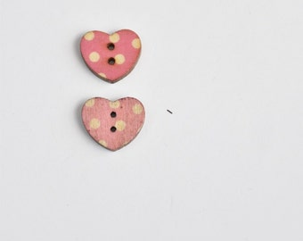 Pink Polka Dot button - Pink Heart Button - Valentines Day Pink Button - Sewing Button - 15 mm Button - Half Inch Button - Sewing Notion