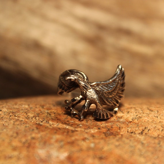 Mens Ring Vintage Navajo Eagle Ring 5.9 Grams Size 9 Mens Rings Native American Navajo Eagle Ring Sterling Silver Mens Rings Vintage Mens