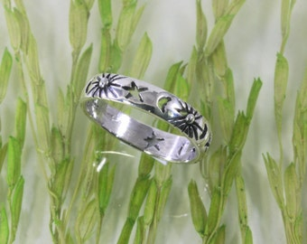 Sun, moon and stars, ring, 925 sterling silver -- 6052