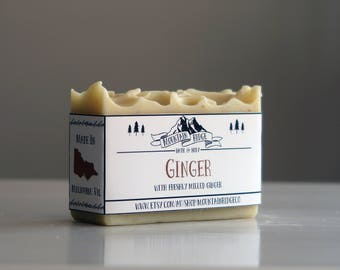 Ginger Soap - Handmade Soap, Cold Process Soap, Freshly Milled Ginger, Sweet Almond Oil, Palm Free Soap