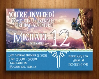 Zelda invitation etsy legend of zelda birthday invitation breath of the wild digital printable file stopboris Choice Image