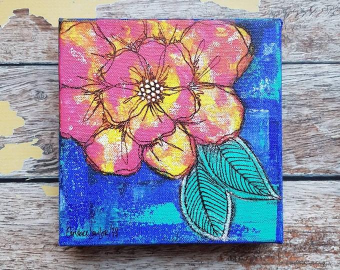 Original Floral Painting | Flower Art | Original 6x6 Canvas | Wildflower Art | Pink Flower Painting | Saltons Cove Studio