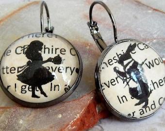 Alice In Wonderland Earrings , Wonderland WHITE RABBIT Earrings , Alice In Wonderland Jewelry , White Rabbit Watch Earrings