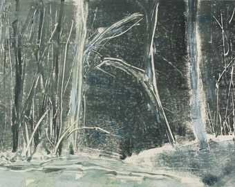 """Original image, Monotype """"Woodland 21"""", sheet size 30 x 40 cm, motif size 20 x 30 cm, trees, forest, abstract landscape, night"""